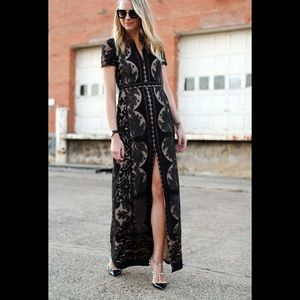 BCBGMAXAZARI Cailean  Black Lace Long Dress